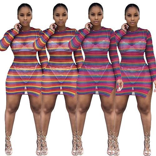Colorful Stripe Casual Mesh Perspective Split Tight Mini Dress LDS-3153