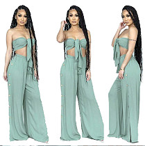 Fashion Slim Fit Lace Up Chest Wrap Crop Top Pants 2 Pcs Suit YIM-8007