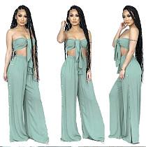 Fashion Slim Fit Lace Up Chest Wrap Crop Top Pants 2 Pcs Suit YIM-8007