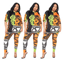 Cartoon Print O Neck Short Sleeve T Shirt Shorts Two Piece Set KXL-811