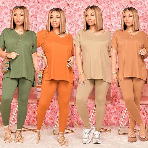 Women Solid Short Sleeve V-Neck T-Shirt Leggings Two Piece Set KD-8020