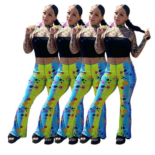2021 Hot Ink Print Women High Elastic High Waist Flare Pants KXL-823