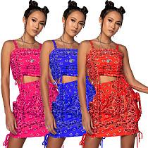 Bandana Paisley Print Crop Top Drawstring Mini Skirt 2 Pieces XY-9909