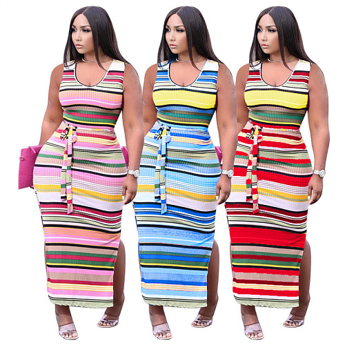 Contrast Color Striped Printed Skinny Sleeveless Knit Long Dress KXL-828