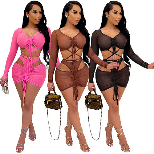 Sexy See Through Long Sleeve Mesh Crop Top Skirt  Two Piece Set PN-6690