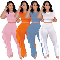 Women Solid Color Short Sleeve Crop Top leggings Two Piece Outfits KXL-831