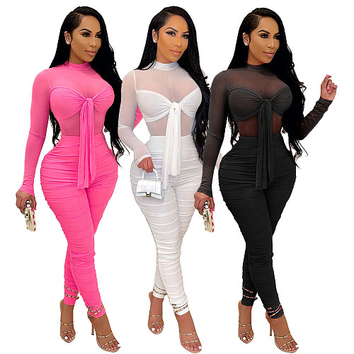 Sexy See Through Women's Solid Mesh Bowknot Long Sleeve Jumpsuits PN-6691