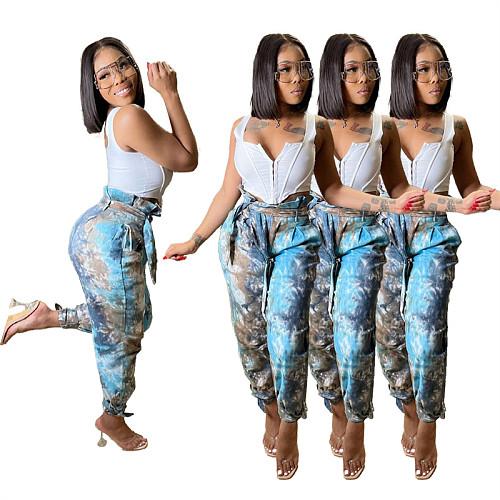 Tie Dye Contrast Color High Waist Long Sweatpants Harem Pants KXL-832