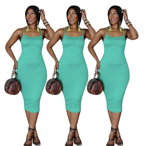 Summer Women Solid Color Bodycon Spaghetti Strap Midi Dress FE-137