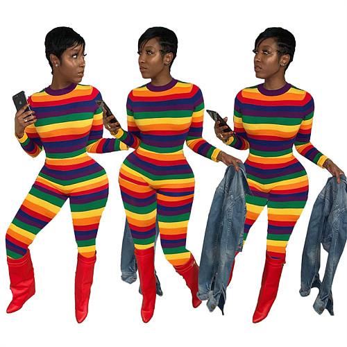 Women Rainbow Stripes Print O-Neck Long Sleeve Skinny Jumpsuit SIHA-6010