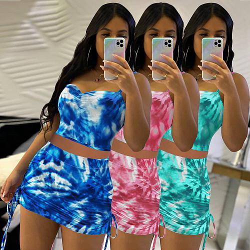Tie Dye Sleeveless Crop Tops Ruched Mini Skirts Two Piece Set QIM-7040
