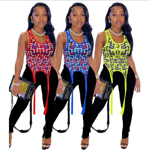 2021 Summer Print Sexy Sleeveless O-neck Irregular Vest Top XUH-5020