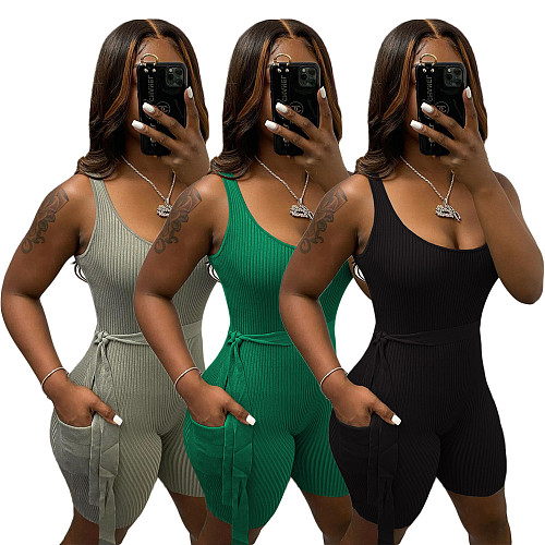 Women Basic Sleeveless Solid Color Rib Knit Stretchy Romper ANDI-0405