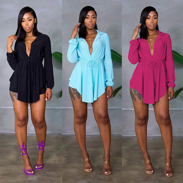 2021 New Long Sleeve Shirt Shorts Solid Color Two Piece Outfits ANDI-0406