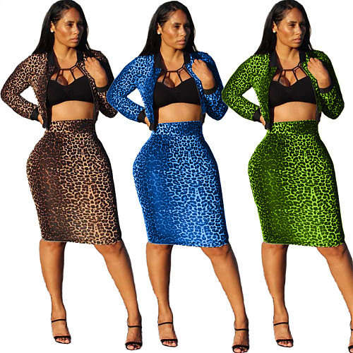 Leopard Print Long Sleeve Zipper Tops Midi Skirt Two Piece Set SIHA-6009