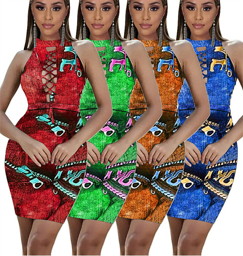2021 Summer Fake Denim Print Cutout Women Slim Mini Dress SIHA-6038
