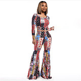 Women Print Long Sleeve Crop Top Flare Pant 2 Piece Club Outfits SIHA-6013
