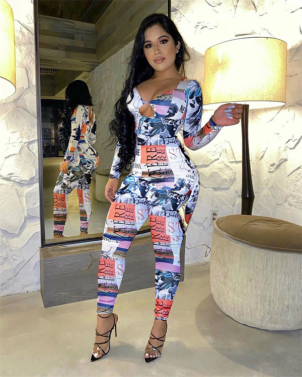 Sexy Print Long Sleeve Hollow Out Lace-up Bodycon Jumpsuit SIHA-6017