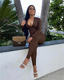 Sexy Long Sleeve V-Neck Back Hollow Out Drawstring Jumpsuit SIHA-6016