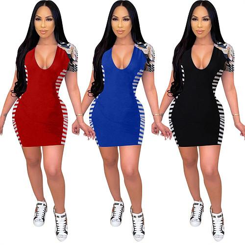 Summer Casual V-neck Print Stitching Short Sleeve Mini Dress SIHA-6037
