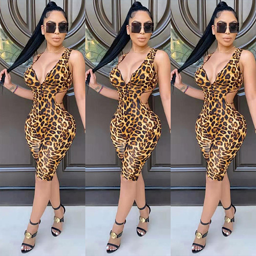 Sexy Leopard Print Bodycon Hollow Out Sleeveless Rompers WPH-6059