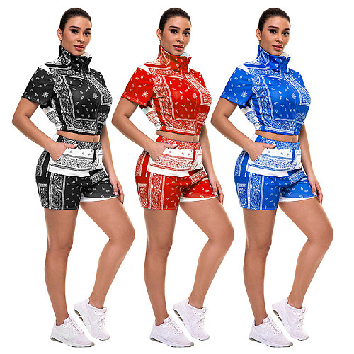 Bandana Paisley Print Short Sleeve Zipper Top Shorts 2 Piece Set WSY-5853