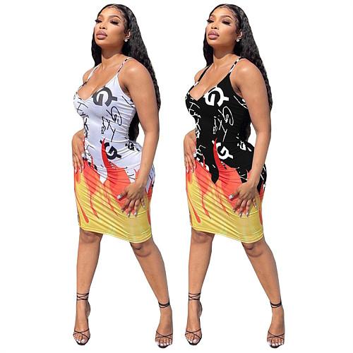 Sexy Graffiti Print Summer Spaghetti Strap Midi Bodyocn Dress ATE-5126