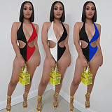 Sexy Color Matching Hollow Out Push Up One-Piece Swimsuit YISH-053