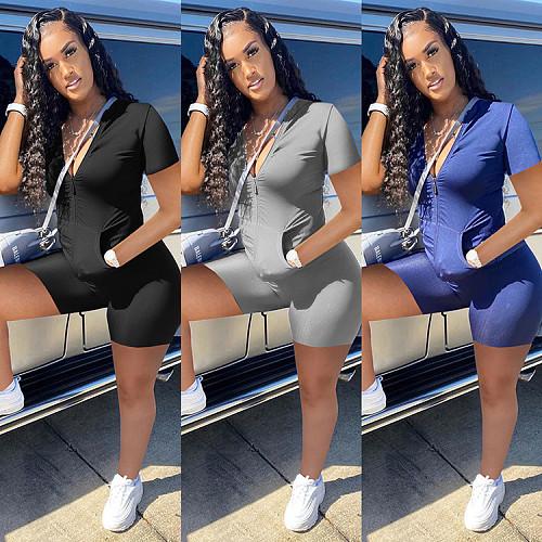 Women Set Solid Zipper Short Sleeve Tops Shorts Two Piece Set WSY-5861