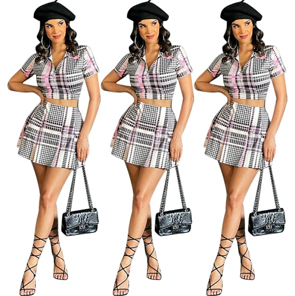 Casual Plaid Short Sleeve Zipper Top Mini Skirt Two Pieces Set SIHA-6031