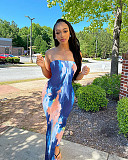 Colorful Tie-Dye Off-The-Shoulder Strapless Dress BGN-063