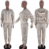 Paisley Print Full Sleeve Zipper Jackets Top Pants 2 Piece Set SIHA-6019