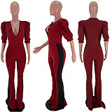 Sexy Women Bubble Sleeve Deep V-neck Long Flared Jumpsuits SIHA-6015