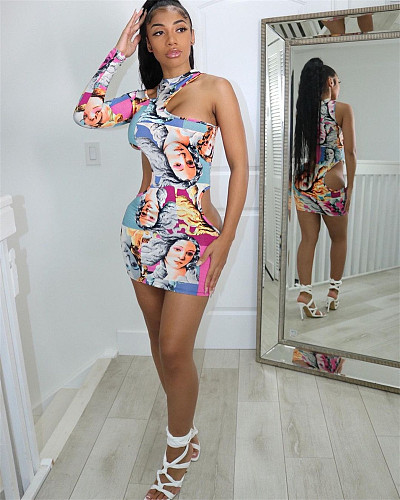 Women Print Hollow Out One Shoulder Stretchy Slim Mini Dress ATE-5220