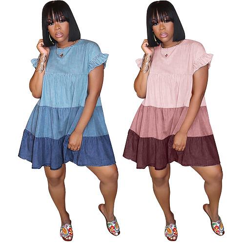 Gradient Stitching Fashion Round Neck Pleating Mid Length Dress ASL-6278