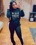 Women Letter Print Hooded Long Sleeve Top Pants 2 Piece Set SIHA-6012