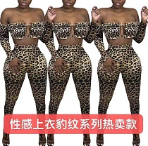 Sexy Leopard Print Stretch Cropped Top Leggings Two Piece Sets KMN-8810
