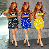 Women Letter Print Strapless Crop Top Shorts Two Piece Set YISH-063