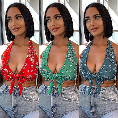 Women Sexy Paisley Print Bandage Party Halter Crop Tops WSY-5860