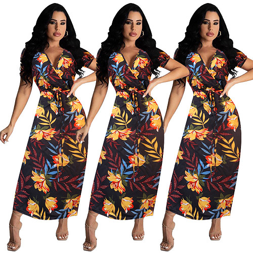 Summer Floral Printed V Neck Short Sleeve Slim Midi Dress WPH-6064