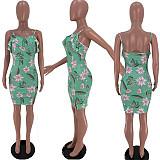Women Summer Floral Print Spaghetti Straps Ruffle Midi Dreesses SIHA-6032