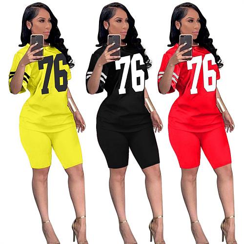 Summer Number Print Short Sleeve T-Shirt Shorts 2 Piece Set SIHA-6036