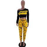 Skew Neck Letter Print Long Sleeve Crop Top Pants 2 Pieces Set SIHA-6022