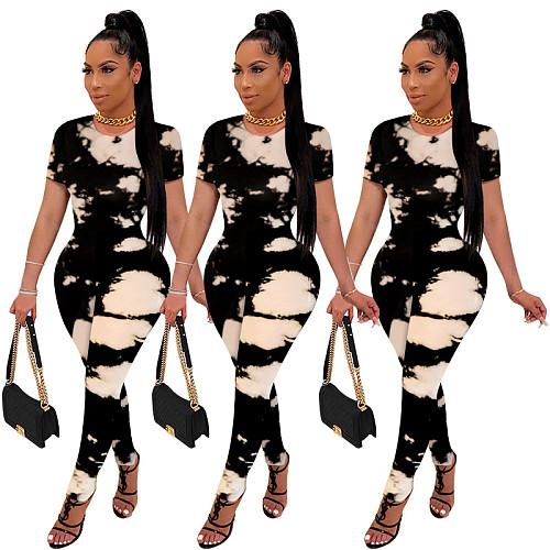 Women O Neck Short Sleeve Tie Dye Print Bodycon Jumpsuits WPH-6065