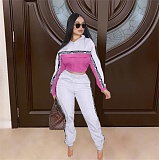 Long Sleeve Stand Collar Crop Top Sweatpants Two Piece Sets SIHA-6018