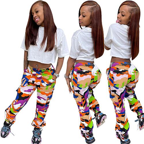 Women Camo Cargo High Waist Hip Hop Trousers Pants WSY-5862