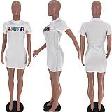 Letter Embroidery O-Neck Short Sleeve Bodycon Mini Dress SIHA-6028