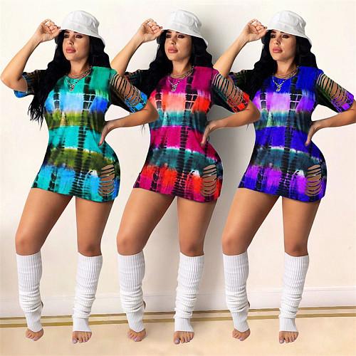 Summer Gradient Tie Dye Striped Hole Short Sleeve Mini Dress SIHA-6051