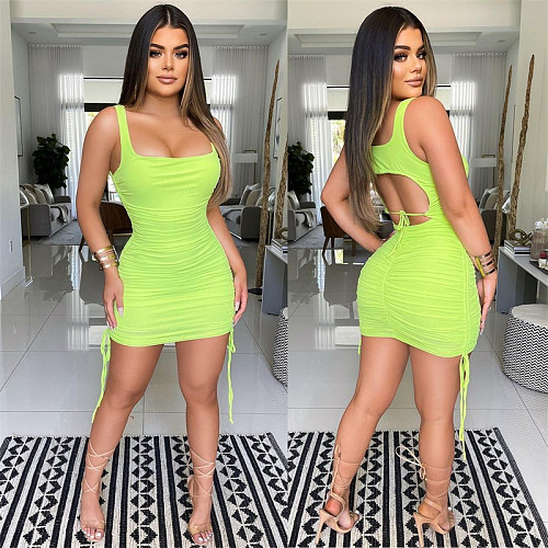 2021 Women Hollow Out Clubwear Drawstring Bandage Dress SIHA-6039