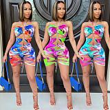 Tie Dye Halter Bandage Dress Hollow Out Two Piece Bikini Set SQ-957